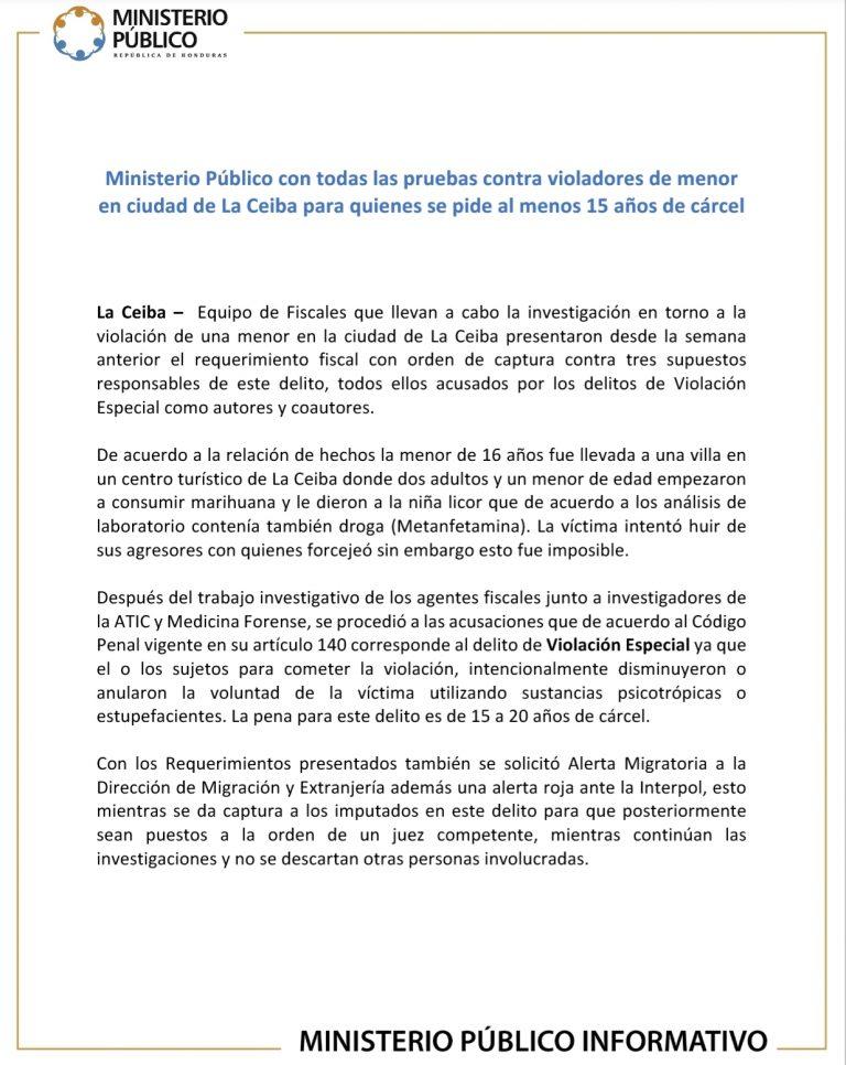 Caso violación La Ceiba