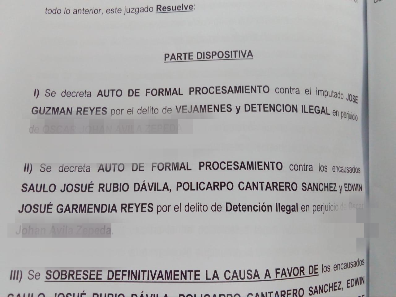 AUTO DE FORMAL PROC. FISC. DDHH CONTRA 4 POILICIAS