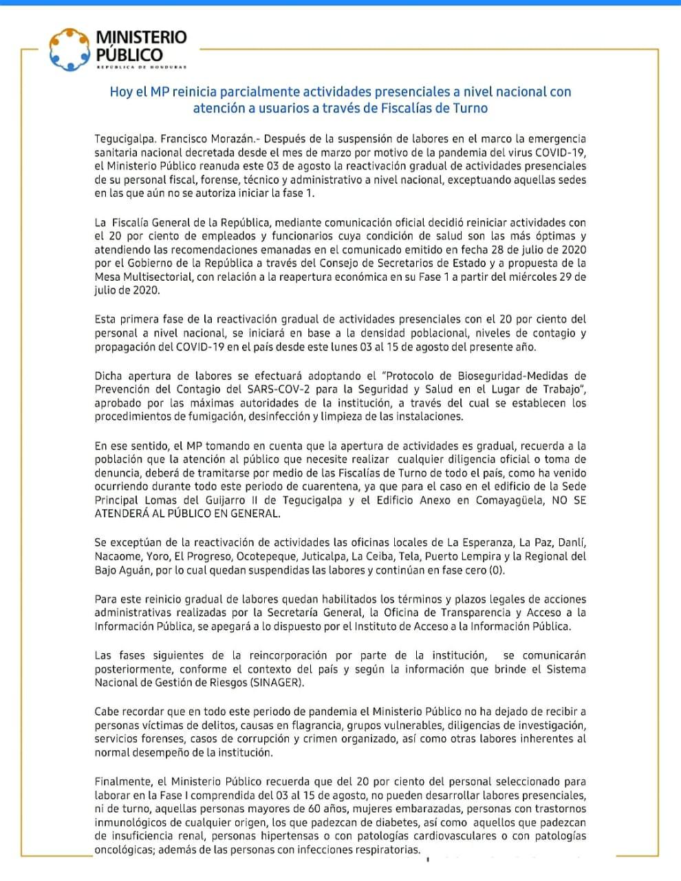 REAPERTURA PARCIAL DE LABORES 03 AGOSTO