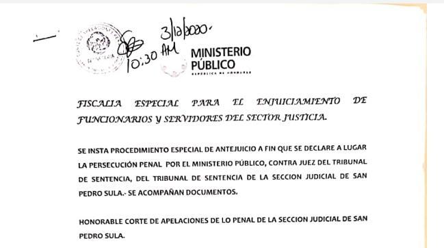 MP promueve Antejuicio en contra de Jueza de Sentencia de San Pedro Sula