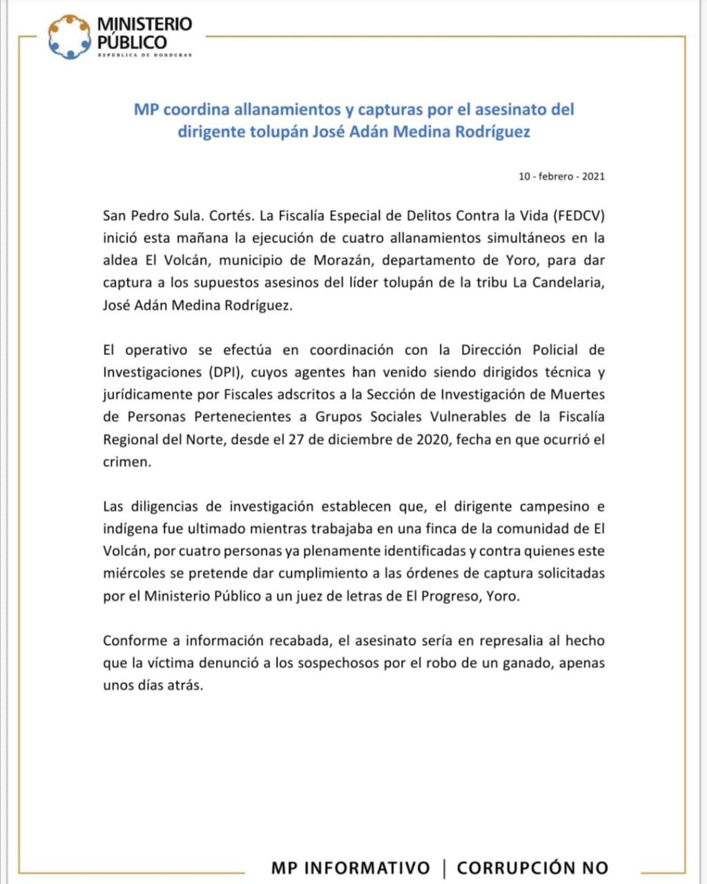 MP coordina allanamientos y capturas por el asesinato del dirigente tolupán José Adán Medina Rodríguez