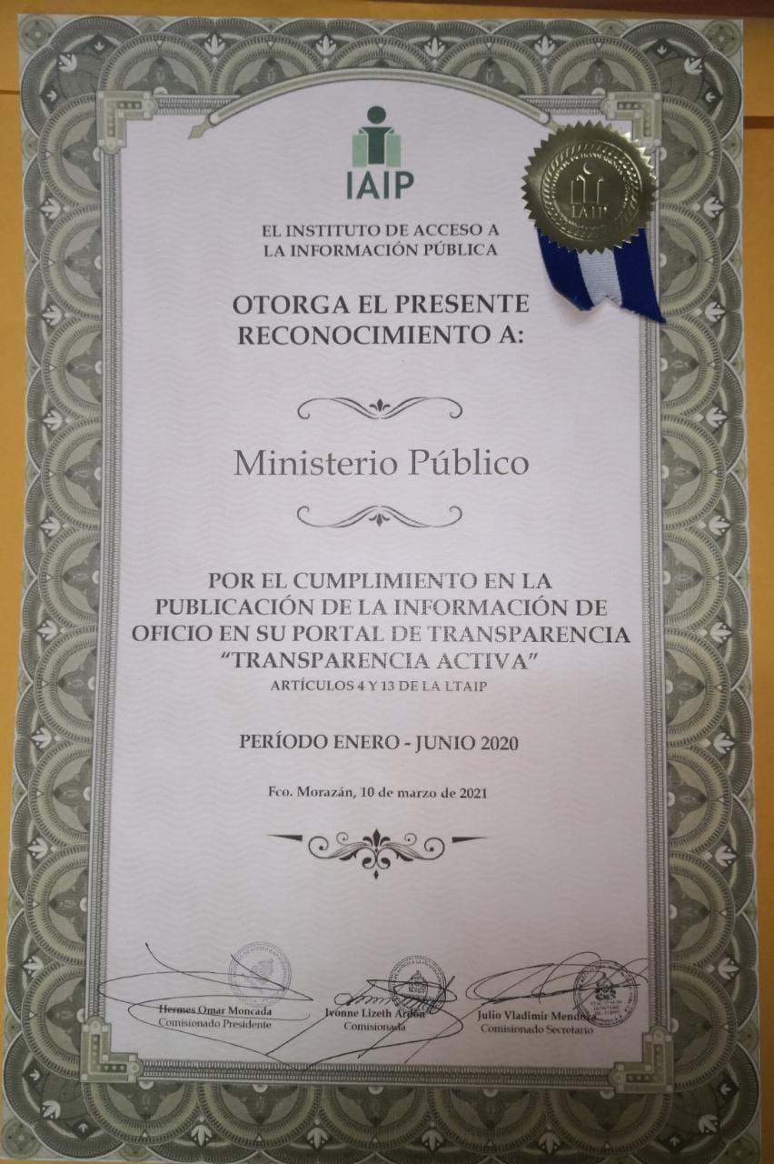 CERTIFICACÓN DEL IAIP AL MP 2020
