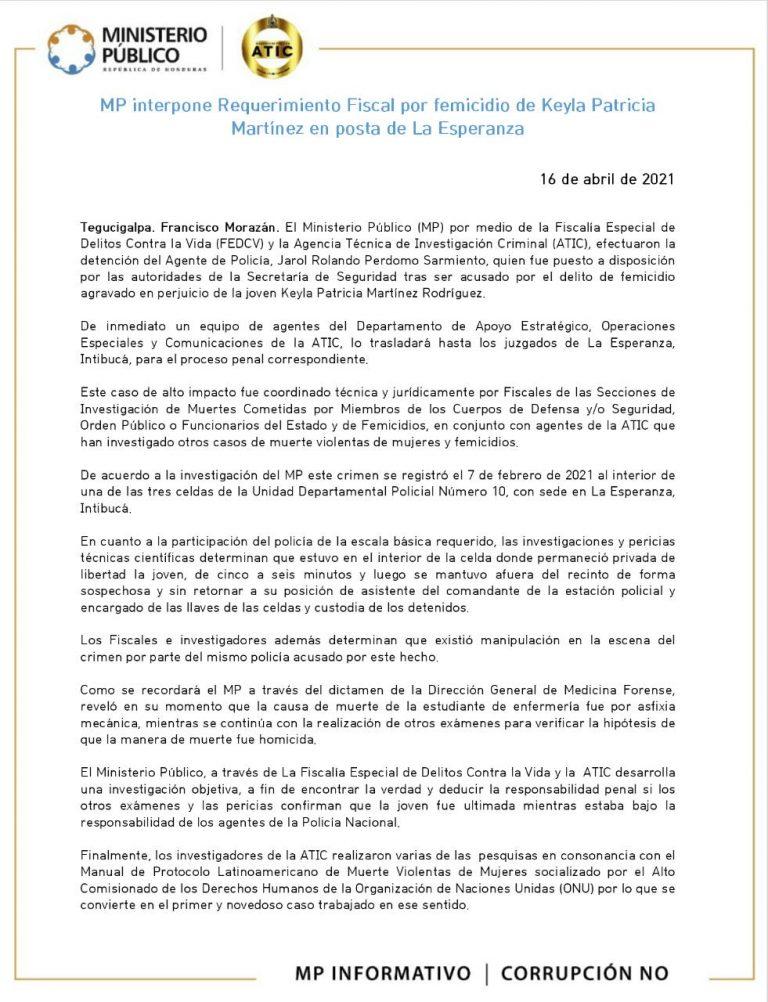 MP interpone Requerimiento Fiscal por femicidio de Keyla Patricia Martínez en posta de La Esperanza