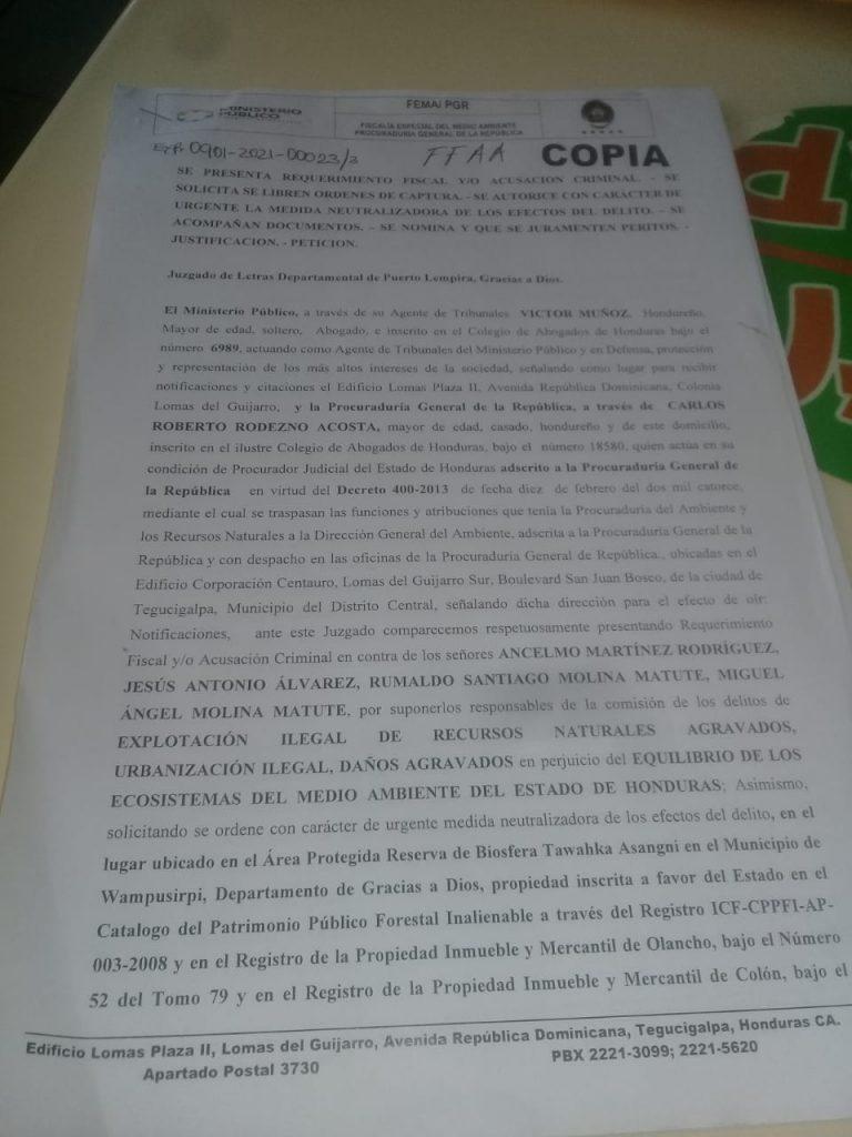 Fiscalía del Ambiente presenta requerimiento fiscal por caso en el valle de Kara La Mosquitia