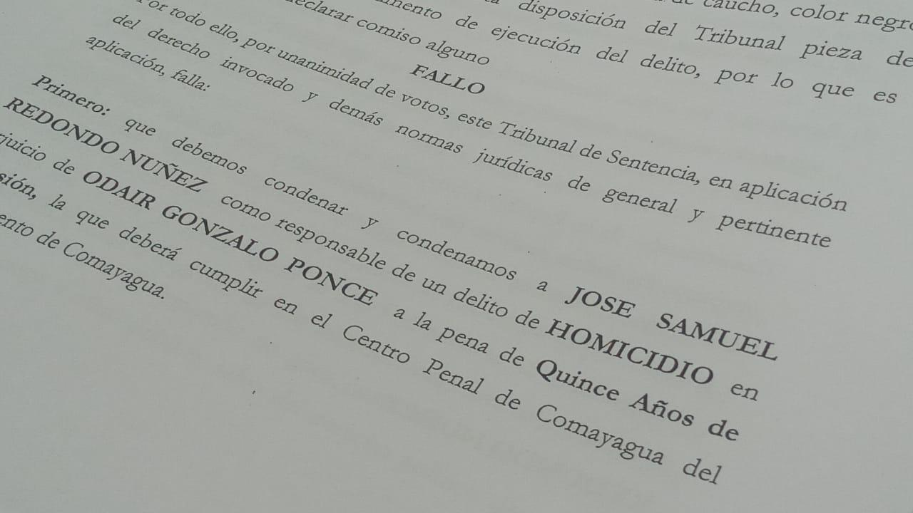 15 años de cárcel por matar un hombre en Las Lajas Comayagua